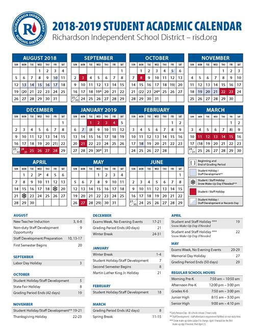 Calendario 18 19.2018 19 School Calendar